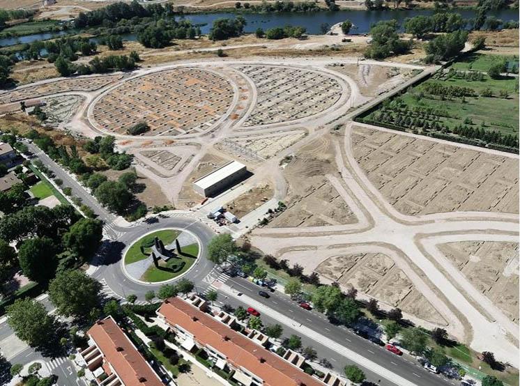 Vista aérea de los huertos urbanos de Salamanca.
