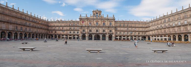 La Plaza Mayor semivacía a las seis de la tarde de este martes, 1 de septiembre.
