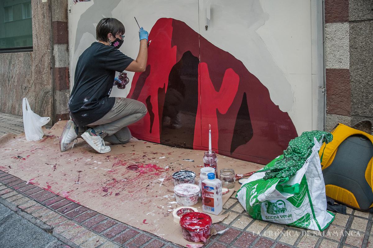 Una de las obras que participa en el certamen de Galería Urbana del barrio del Oeste.