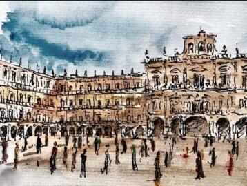 Distanciamiento social en la Plaza Mayor, de Francisco Somoza.