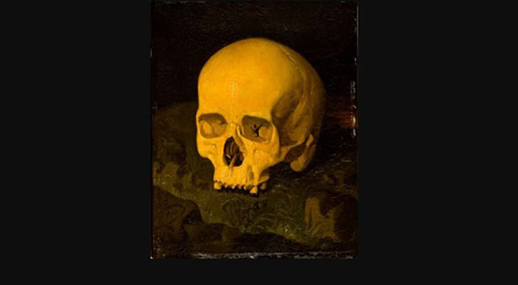 El cráneo de Goya pintado por Dionisio Fierros.