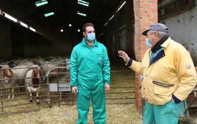 Brágimo / ICAL . El joven ganadero conquense Felipe Carlos Parreño en la explotación ganadera de ovino de raza Awassi en Fuentes de Nava (Palencia)