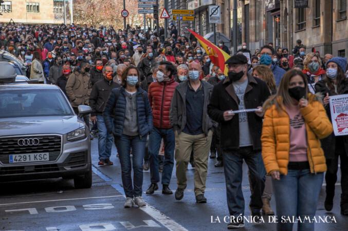 Los autónomos de Salamanca protestaron y solicitaron ayudas para salvar sus negocios.