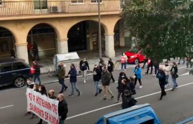 Manifestación hosteleros de Salamanca en la Gran Vía.