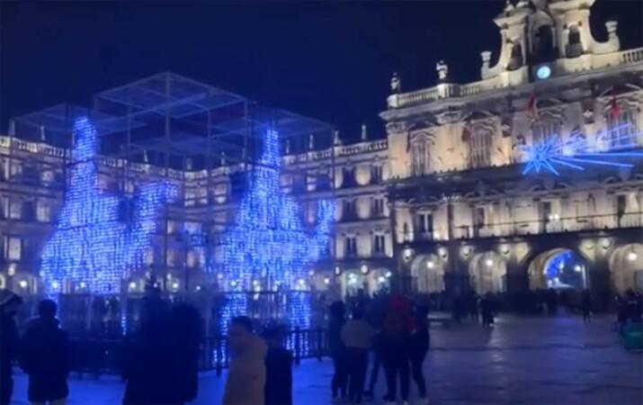 Espectáculo de luz y sonido en la Plaza Mayor de Salamanca.