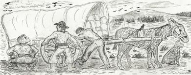 """""""Arreglando la rueda"""". (Dibujo de E. Jiménez, enero 2021)"""