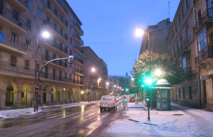 trafico gran via nieve