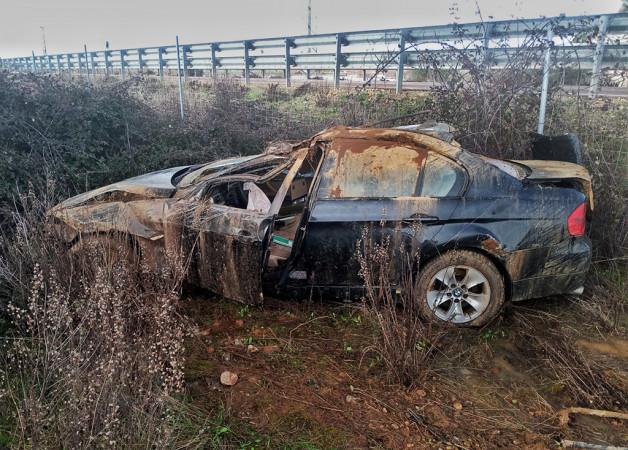 Isa Vicente / ICAL . Un herido en un accidente en la A-62, entre Sancti Spiritus y Ciudad Rodrigo(Salamanca)