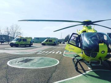 La niña herida fue trasladada hasta el hospital de Salamanca en el helicóptero medicalizado.