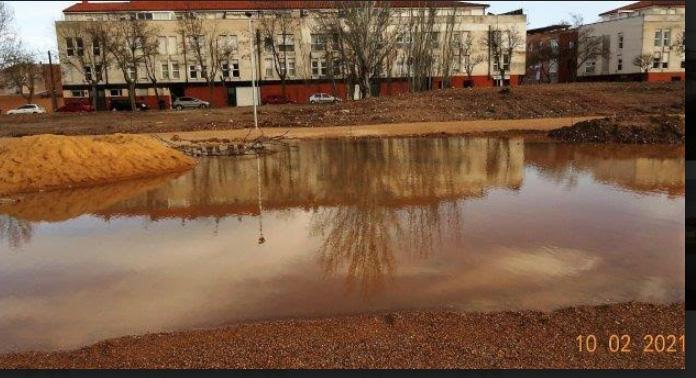 Los huertos urbanos inundados este miércoles.