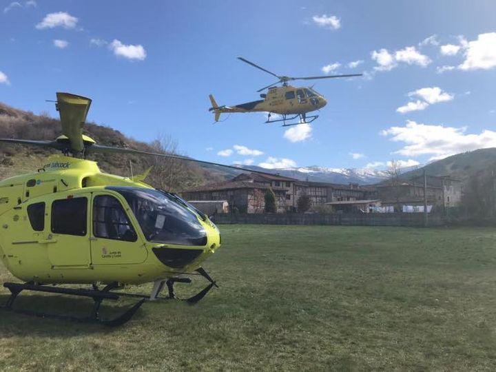 El helicóptero que acudió al rescate. (Foto del helicóptero sanitario de Burgos)