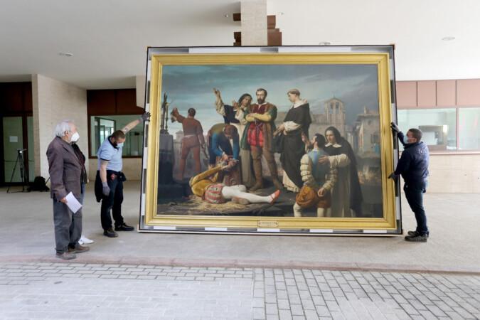 Leticia Pérez / ICAL . Las Cortes de Castilla y León reciben el cuadro 'Los comuneros Padilla, Bravo y Maldonado en el patíbulo', propiedad del Museo del Prado