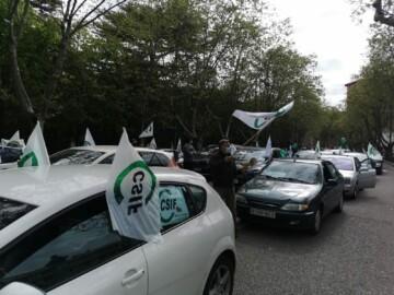 Éxito en la 'marcha lenta' para exigir la equiparación de todos los empleados públicos de la Junta de Castilla y León