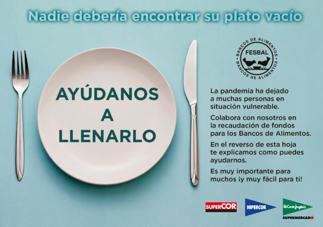El Corte Inglés organiza la Operación Kilo del 24 al 30 de mayo a favor del Banco de Alimentos.