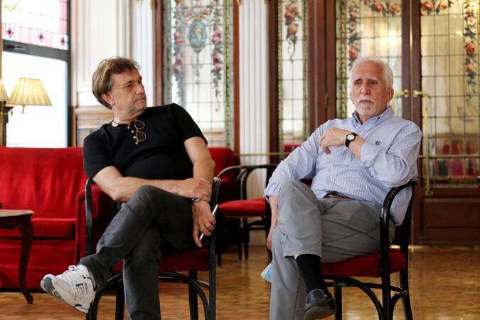 Leticia Pérez / ICAL . Luis Mateo Díez y Tomás Val Sáez participan en la 54º Feria del Libro de Valladolid