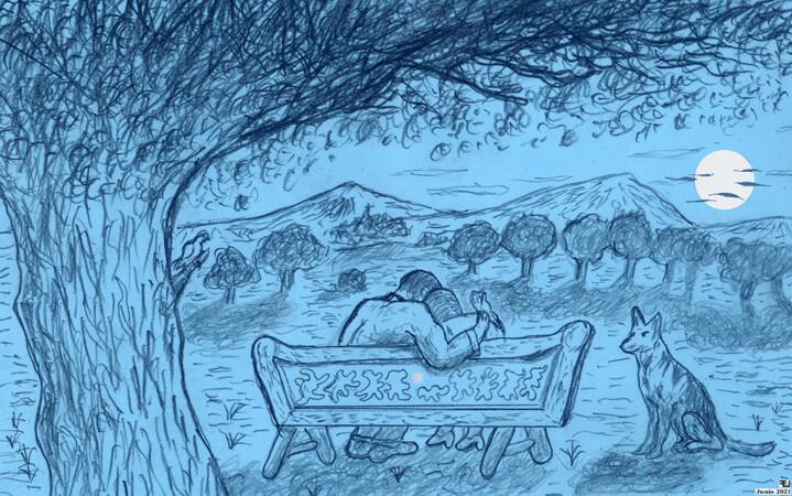 """Bajo la luna y el sicomoro"" (Dibujo de E. Jiménez, junio 2021)"