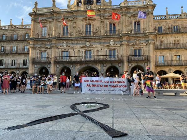 Concentración en la Plaza Mayor en repulsa del asesinato de Samuel en A Coruña.
