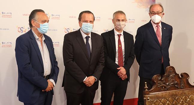 De Izq a Drha. Emilio Melero, Mario Amilivia, Ricardo Rivero y Miguel Ángel Jiménez. Foto. Usal.