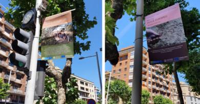 Dos de los 20 carteles de la exposición 'Pacto Verde Europeo' que se pueden ver en la avenida de Mirat