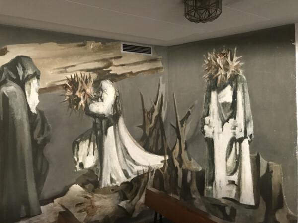 El mural de Genaro de No que se puede admirar en la capilla del Clínico. Foto. Juan Andrés Martín.